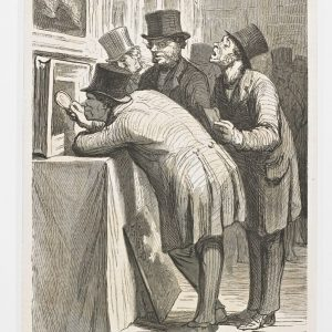 THE AUCTION HOUSE – The Art Lovers. (Drawn by Daumier.), L'HÔTEL DES VENTES. –L'Amateur, (Dessin de Daumier.), Published in April 18, 1863, Wood engraving (state 1 of 1).  Selected works from the Rowe Collection.