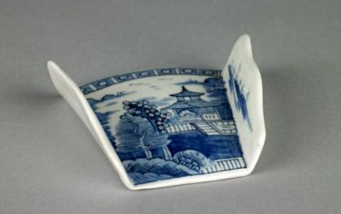 Asparagus Server, Derby porcelain manufactory, England, (operated about 1751 - 1848), about 1770. Porcelain, 3 3/16 x 3 1/4 in. (8.1 x 8.3 cm). Collection of the Art Fund, Inc. at the Birmingham Museum of Art; Catherine H. Collins Collection. Underglaze blue, Chinoiserie.