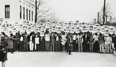 I Am a Man: Sanitation Workers Strike, Memphis, Tennessee, March 28th, 1968. Ernest Withers, 1968; printed 1994. Gelatin silver print. Museum purchase, 2006.322.1.