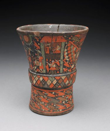Cup (Qero). Colonial Period Inca culture (1532 – 1821) , Peru, Ecuador, Bolivia, Chile, and Argentina, 18th century. Wood and lacquer. 8 × 6 7/8 inches. Museum purchase with funds provided by John M. Harbert III, by exchange, 1994.28.