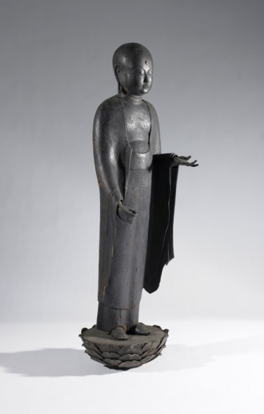 Jizō Bosatsu (Ksitigarbha). Japanese, Heian period (AD 794-1185), about 1100. Wood. 36 × 10 × 5 1/2 inches. Museum purchase with funds provided by the Estate of Carolyn Quinn, 2005.16a-b.