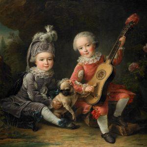 """""""Les Portraits de MM. De Béthune Jouant avec un Chien"""" (Children of the Marquis de Béthune Playing with a Dog), 1761, François Hubery Drouais. Oil on canvas. The Eugenia Woodward Hitt Collection, 1991.254."""