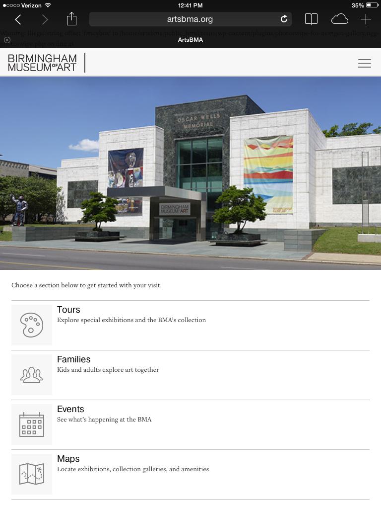 ArtsBMA iPad home