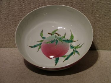 Chinese culture considers peaches very lucky, symbolizing longevity and good fortune. This bowl from the Qing dynasty (about 1700) certainly shows that the peach has stood the test of time! // Bowl, China, Qing Dynasty (1644-1912), about 1700. Porcelain with overglaze enamels. Gift of Mrs. Helen Hudgens in memory of her husband Mr. James W. Hudgens. 1998.18.