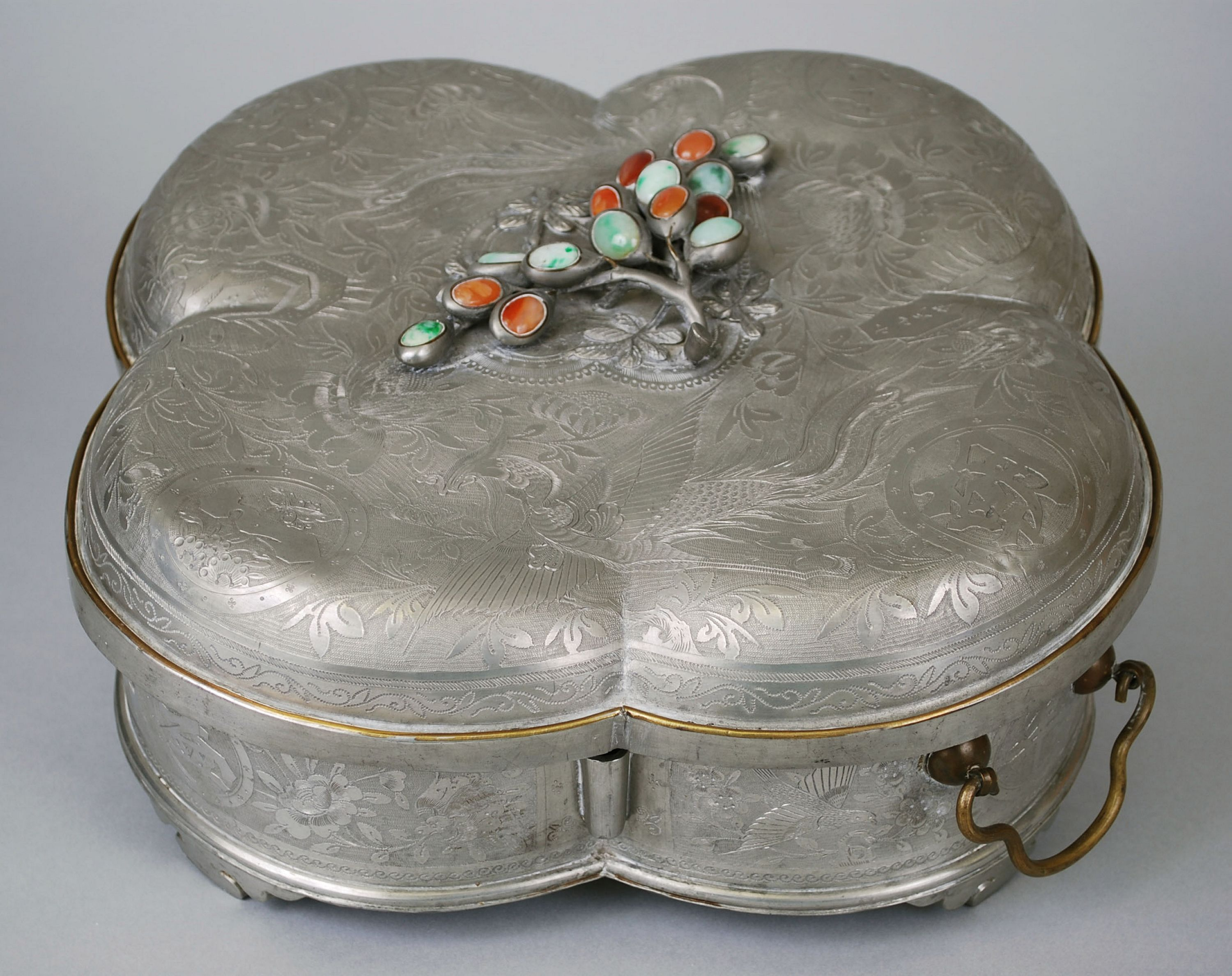 This piece is an elaborate covered wedding food box. Eating foods from these plates on a wedding day leads to a long, happy marriage. // Wedding Food Box, Xiaoshan Family, China, Qing Dynasty (1644-1912), 19th century. Collection of the Art Fund, Inc. at the BMA. Gift of Bayard Shields Tynes and Carolyn Dickinson Tynes. AFI37.2009.1A-B-.5.1-.4.