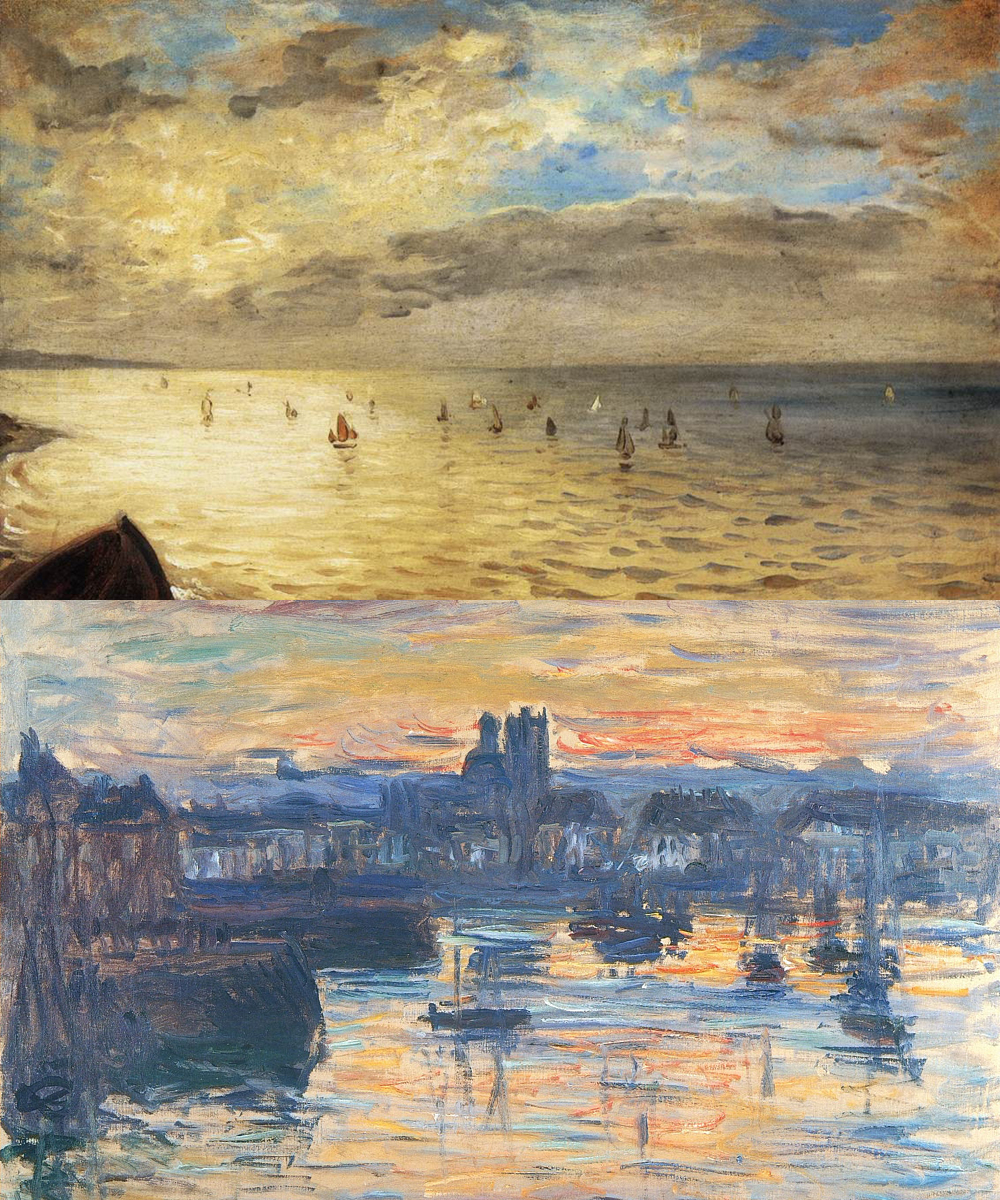 "Claude Monet: Monet was a big fan of Delacroix, and frequently walked by his studio in Paris, hoping to catch a glimpse of his shadow while he worked. : Eugène Delacroix, ""The Sea from the Heights of Dieppe,"" 1852. Oil on cardboard mounted on wood, Musée du Louvre, Paris.  