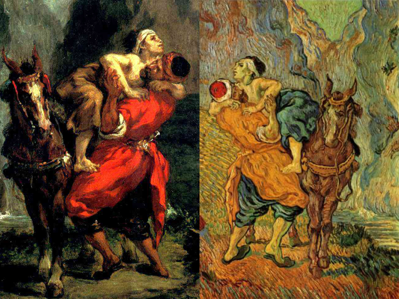 "Vincent van Gogh: Van Gogh was inspired by Delacroix's use of color and its ability to show emotions. : Eugène Delacroix, ""The Good Samaritan,"" 1849. Oil on canvas, private collection. 