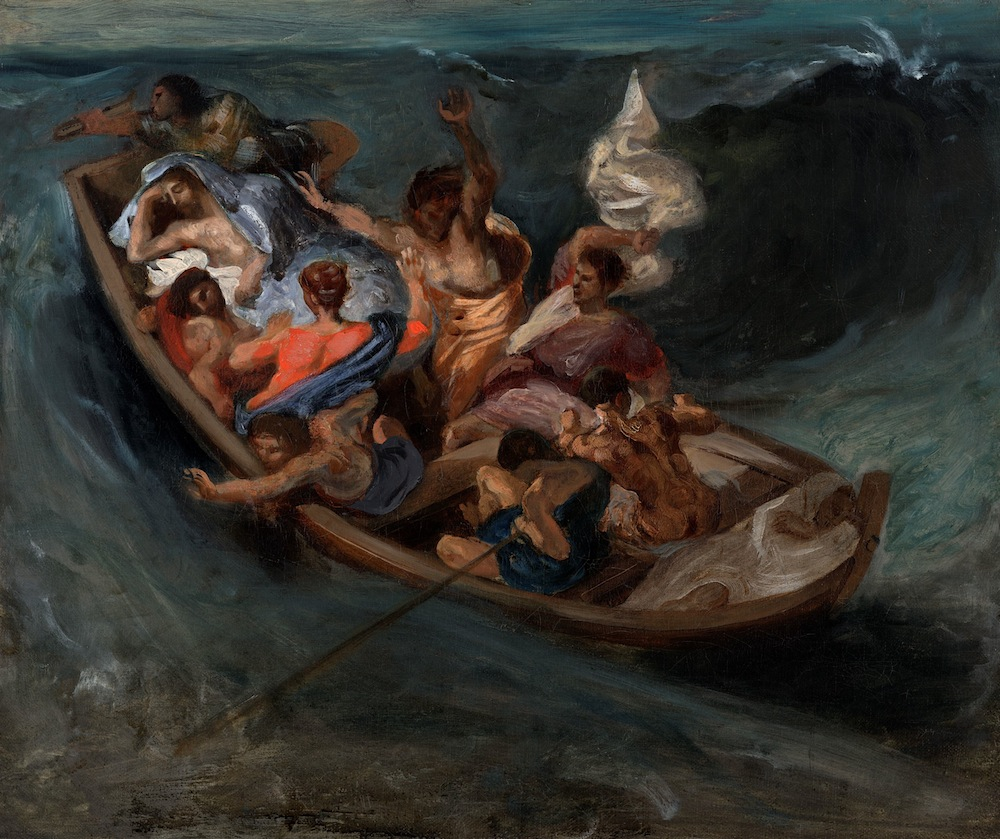 "In exhibition: ""Christ on the Sea of Galilee,"" Eugène Delacroix, ca. 1841. Oil on canvas, 45.7x54.3cm. The Nelson-Atkins Museum of Art, Kansas City, Missouri. Purchase: William Rockhill Nelson Trust, through exchange of the gifts of the Friends of Art, Mr. and Mrs. Gerald Parker, and the Durand-Ruel Galleries; and the bequest of John K. Havemeyer (89-16)."