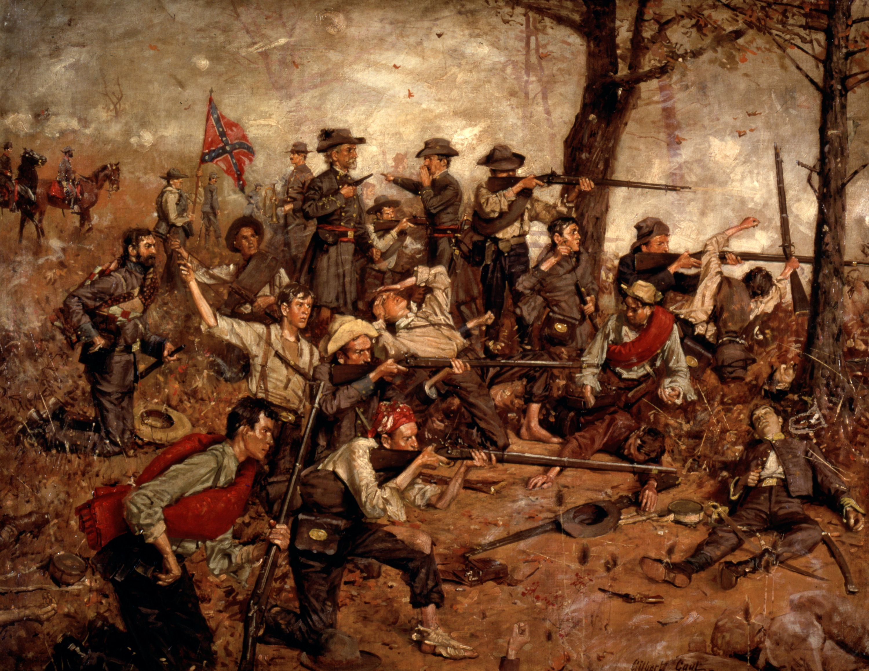 "This painting captures the intensity and action of war, as the soldiers put their lives on the line for their country. This painting was awarded a Gold Medal by the American Art Association in 1882. // ""Holding the Line at all Hazards"" (1882) Gilbert Gaul, oil on canvas. Gift of John Meyer. 1971.39."