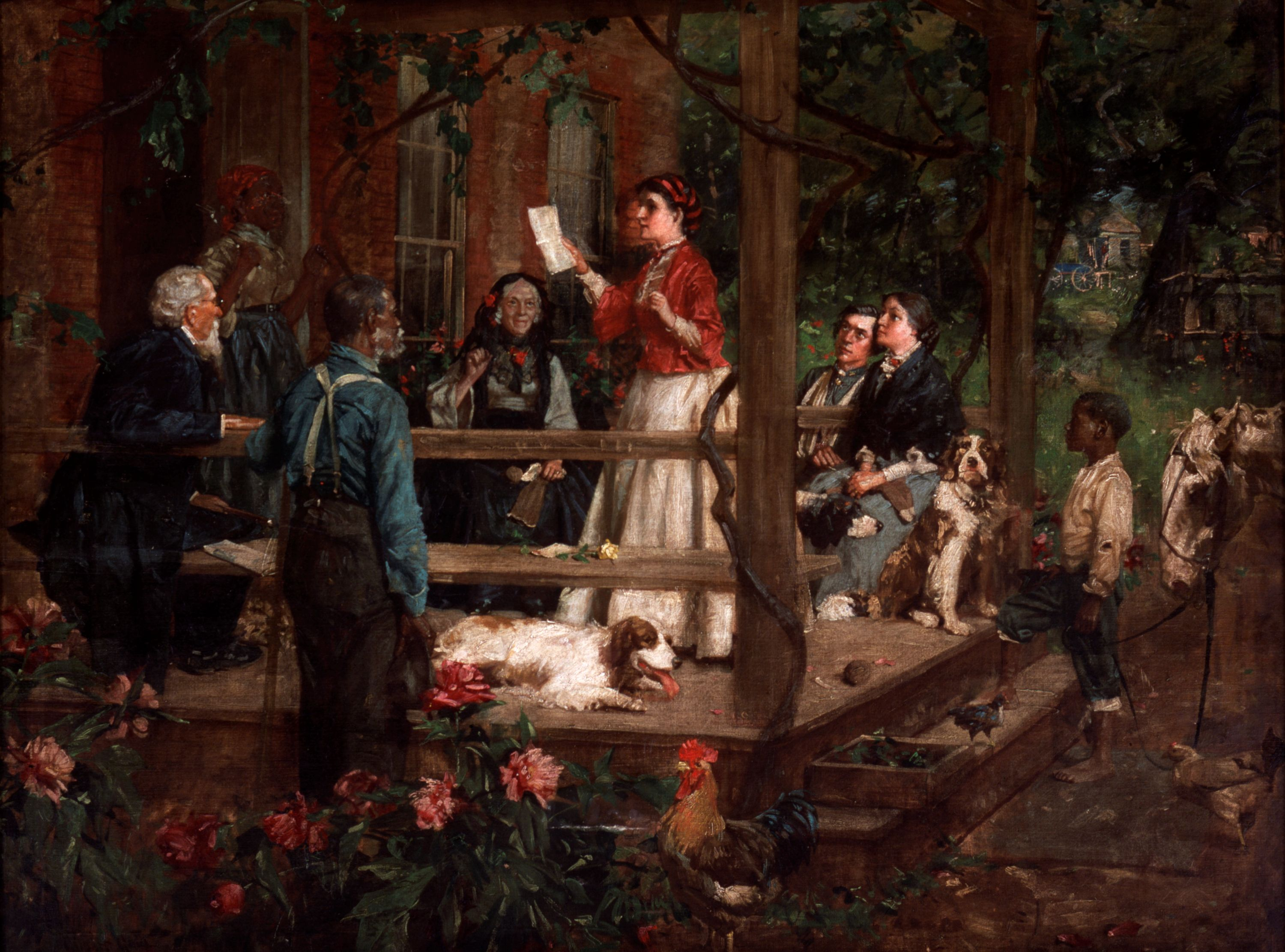 "The arrival of mail played a large part in a soldier's life. Letters from home were critical to boost soldier morale. In this painting, the family gathers to hear what their soldier has to say. Imagine yourself here listening to the words of a loved one writing from the battlefield. // ""Tidings from the Front"" (1907) Gilbert Gaul, oil on canvas. Gift of John Meyer. 1972.462"