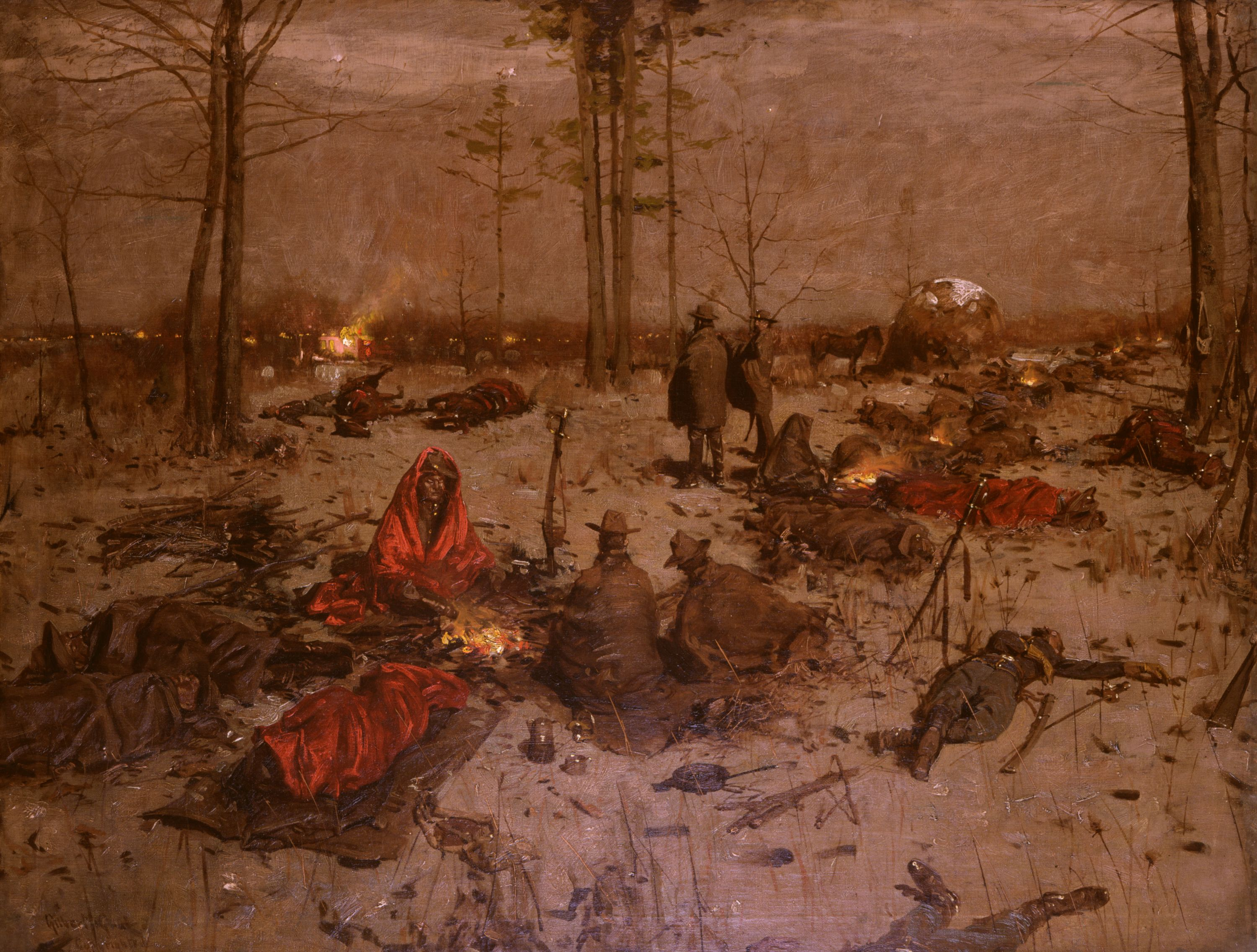 "Surrounded by Union soldiers / Their campfires in the distance. / Southern soldiers on the battlefield / Shivering, huddled together. / Dead bodies littering the ground. // ""Waiting for Dawn"" (1903) Gilbert Gaul, oil on canvas. Gift of John Meyer 1972.464."