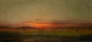 """Sunset, Haywagon in the Distance"" Martin Johnson Heade, United States. Oil on canvas. BMA collection 1977.192."