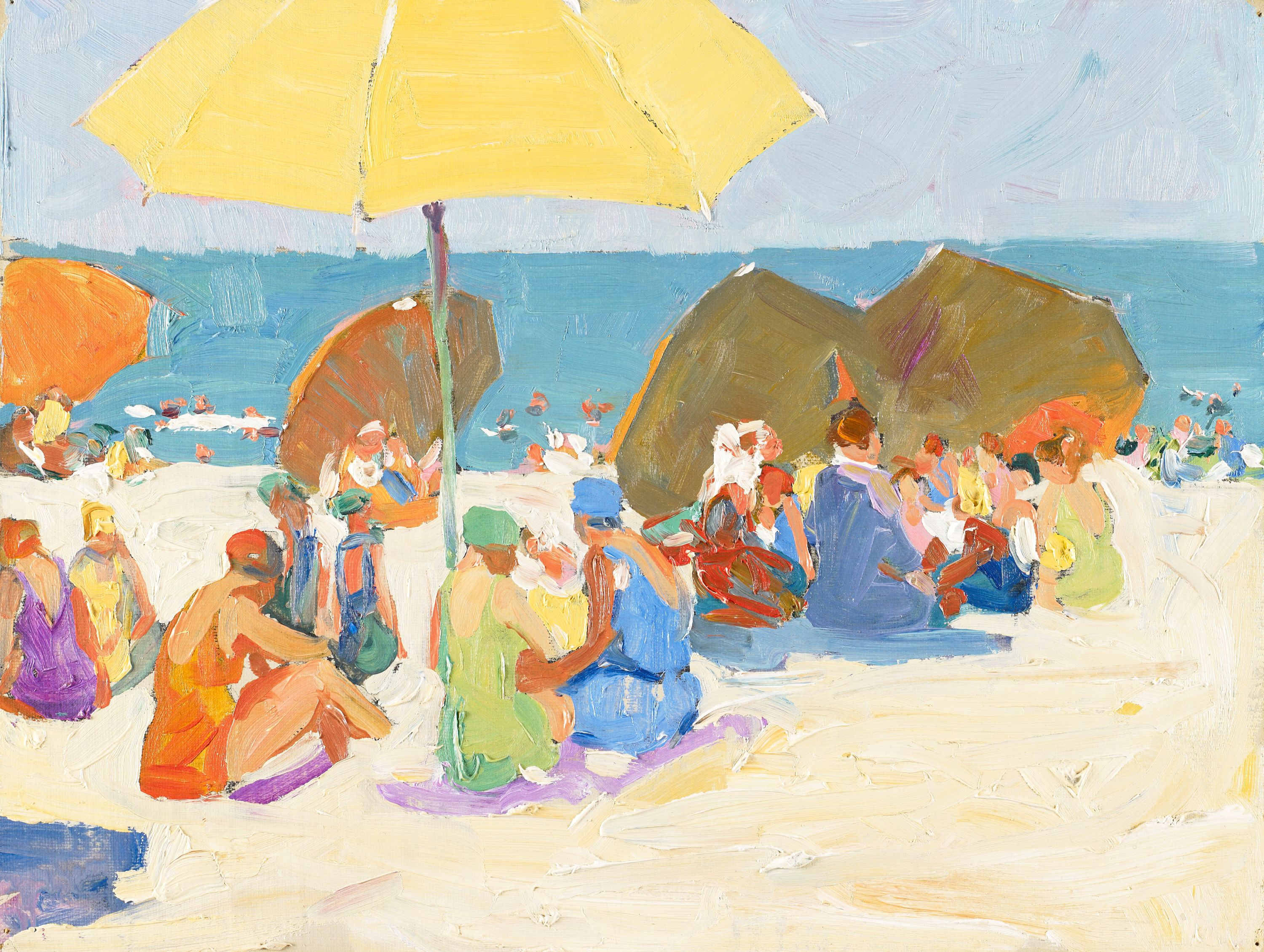 """Beach Scene with Yellow Umbrella"" Jane Peterson, United States (1876-1965). Oil on fiberboard. BMA Collection 1978.197_01."