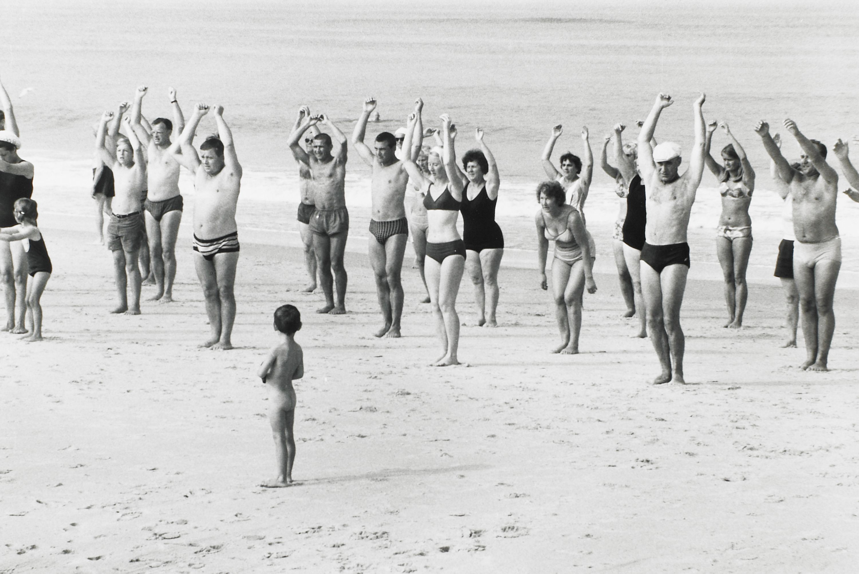 """Beach Group, Sylt, West Germany"" Elliot Erwitt, United States (born 1928). Photograph. BMA Collection, 1979.359.9."