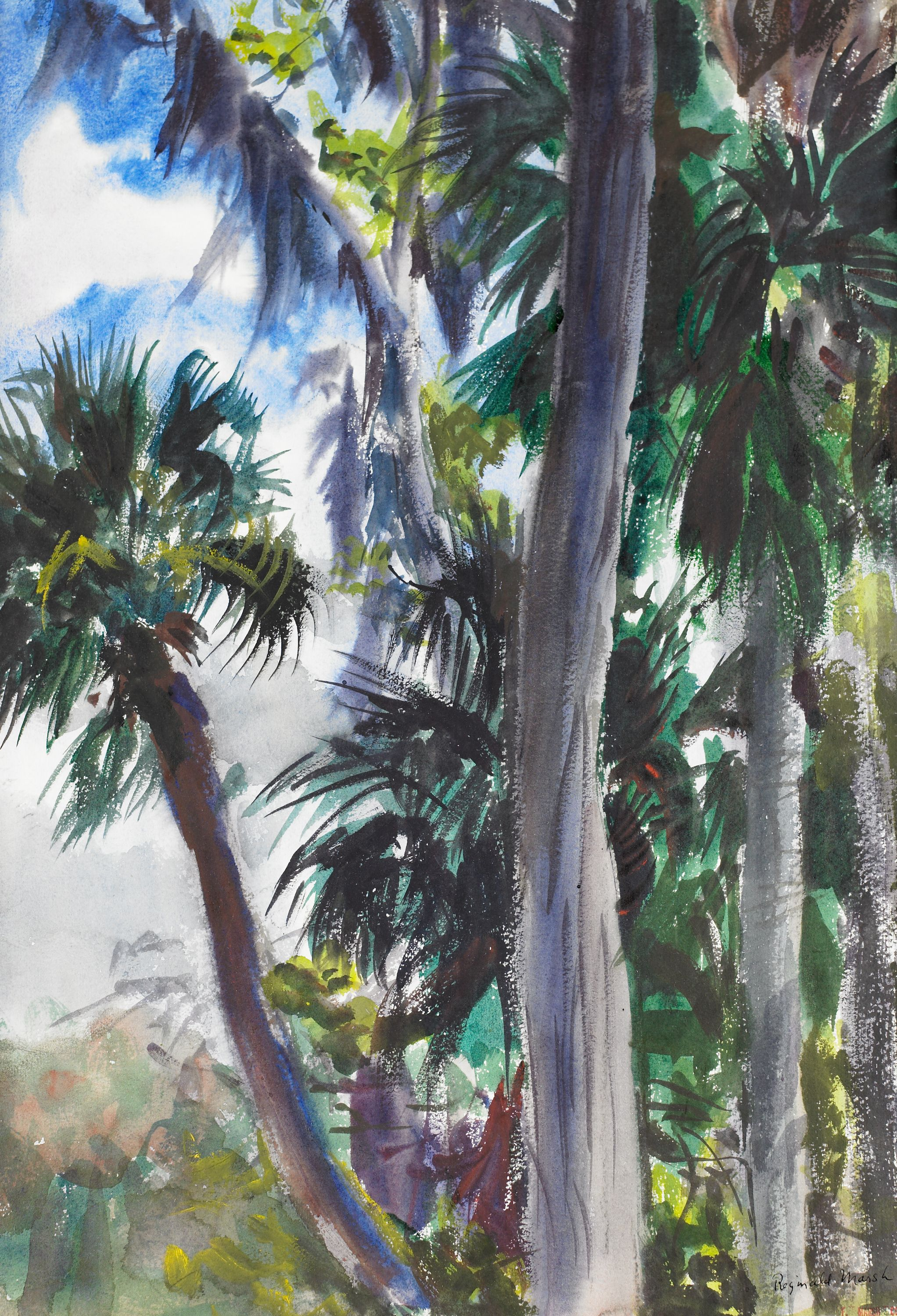 """Tropical Landscape with Palm Tree"" Reginald Marsh, United States (1898-1954), watercolor. BMA Collection 1979.43.3."