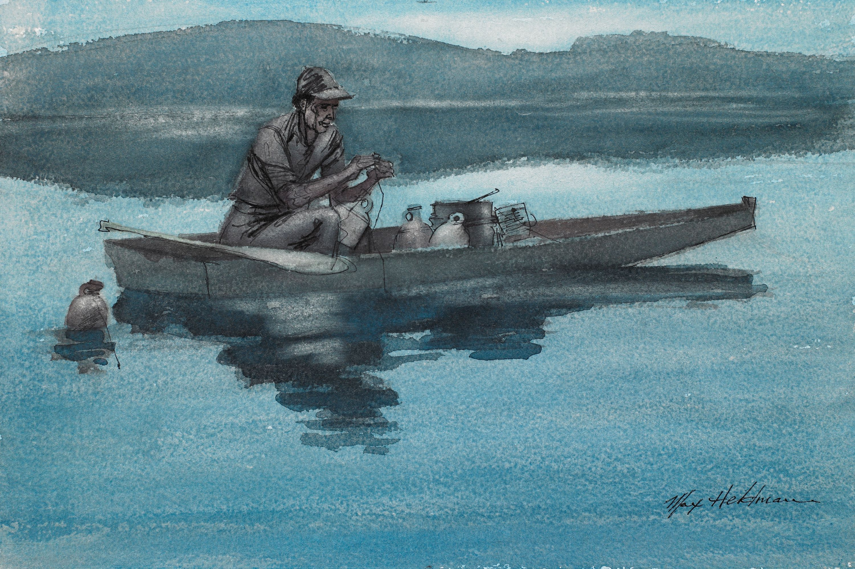 """Jug Fisherman"" Max Heldman, United States, born Russia. Watercolor on paperboard. BMA Colleciton 1982.123."