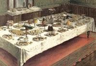 An English table set in Service à la française, including molded treats.