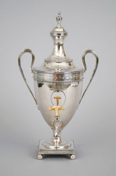 Hot Water Urn. Hester Bateman, 1780/1782. Silver with bright-cut engraving, and wood. Museum purchase, 1973.30a-b.