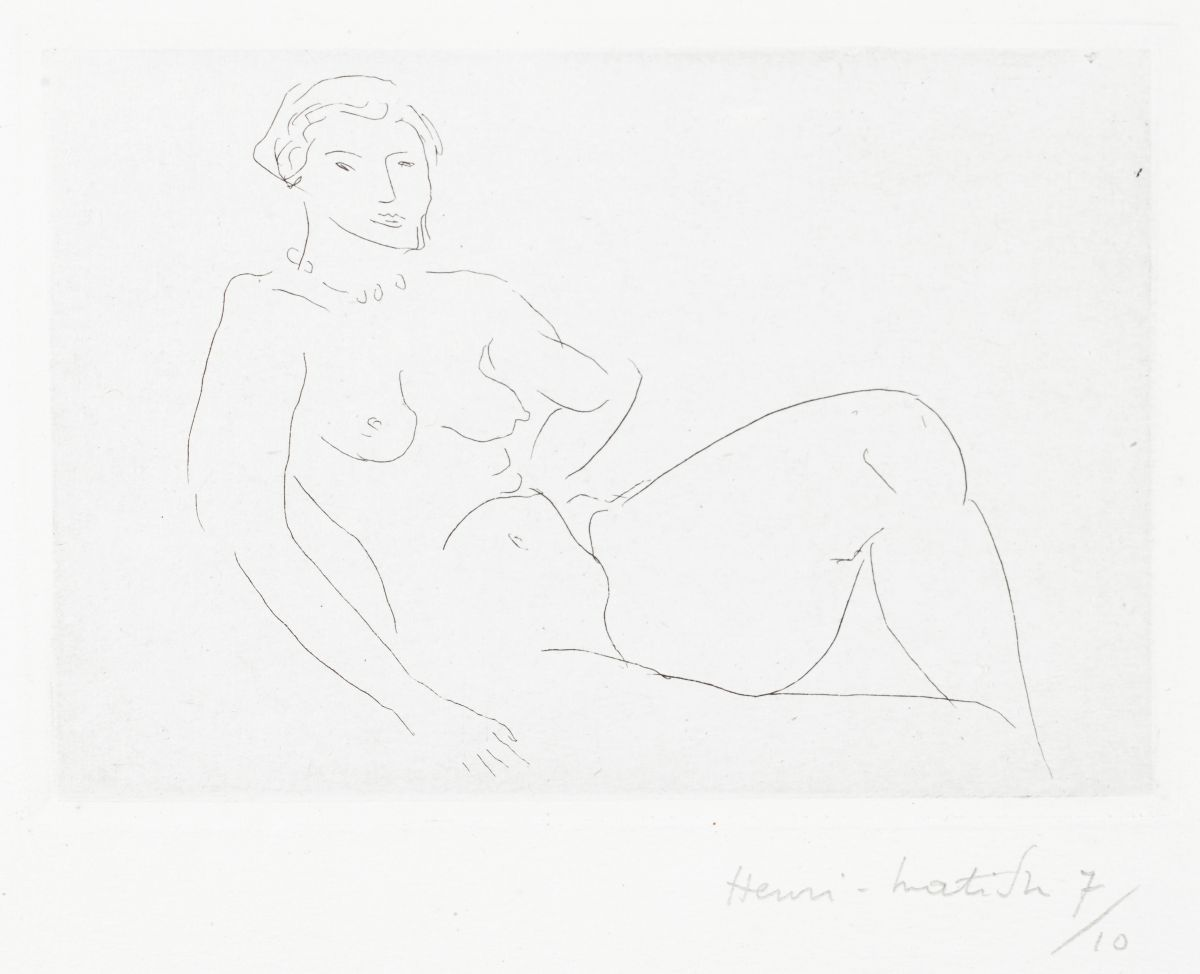 Nu Féline, 1926, Henri Matisse (French, 1869-1954), etching, Collection of the Art Fund, Inc. at the Birmingham Museum of Art; Gift of Roy Curtis Green in honor of all the students and faculty of Birmingham University School who visited the Matisse Chapel in Vence in the Summer of 1974, AFI207.2013