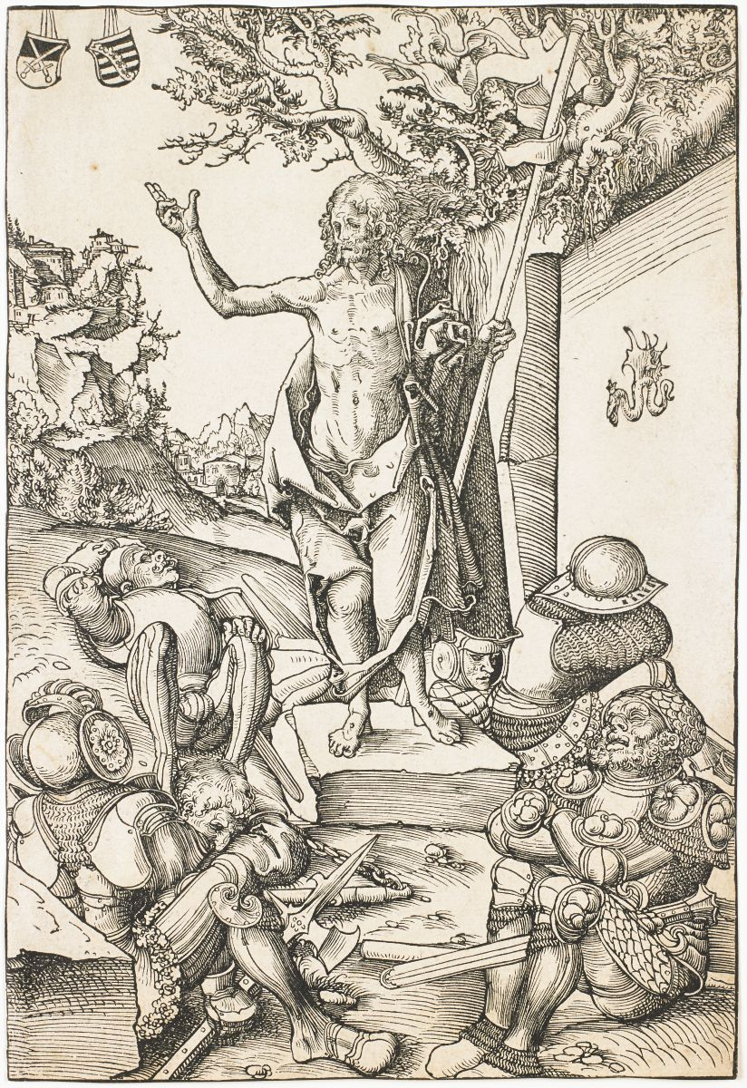 The Resurrection, 1509, Lucas Cranach, the Elder (German, 1472-1553), woodcut, Collection of the Art Fund, Inc. at the Birmingham Museum of Art; Gift of Roy Curtis Green in memory of his parents, Miriam Walker Green and Dr. R. C. Green, AFI212.2013