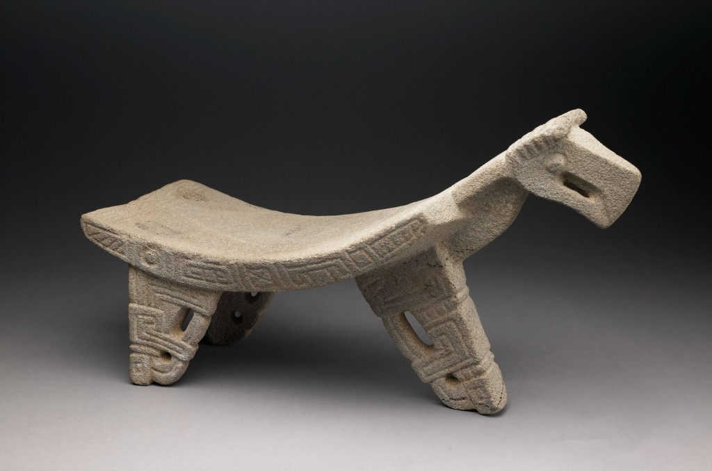 Ceremonial Bird Effigy Grinding Stone (Metate). Nicoya culture (Period IV – Period V) , Costa Rica, AD 300 – 700. Carved volcanic stone. 15 × 27 1/2 × 9 3/4 inches.  Museum purchase, 1971.41.