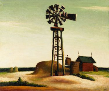 """Windmill"" (1926), Thomas Hart Benton, United States, 1889-1975. Oil on canvas on board. BMA Collection, 1997.72"