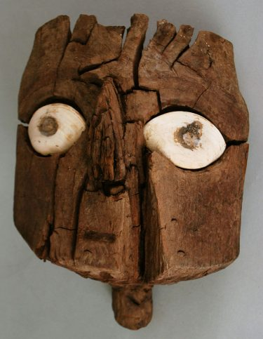 """Mummies are a classic Halloween costume, but you can get very authentic if you copy the style of this mummy mask! // """"Mummy Mask"""" Chancay culture, Peru (1000-1460), 1100-1460. Wood and shell. Museum purchase, 1964.104.1"""
