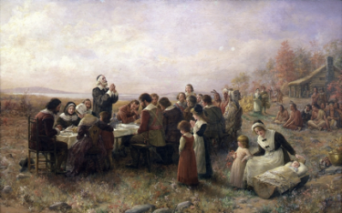 Jennie Augusta Brownscombe (American, 1850-1936), First Thanksgiving at Plymouth, 1914.                      Oil on canvas. Pilgrim Hall Museum, Plymouth, Massachusetts