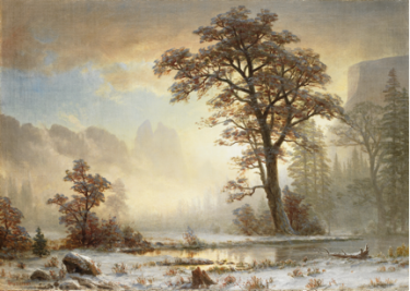 Albert Bierstadt (American, born Germany, 1830-1902), Valley of the Yosemite—First Snowfall of the Year, 1863. Oil on canvas. Collection of the Art Fund, Inc. at the Birmingham Museum of Art