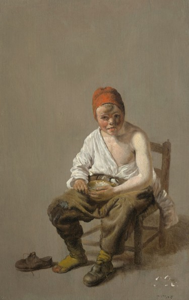 """Seated Boy Eating Porridge"" (around 1655), Pieter Jacobsz Duyfhuysen, Rotterdam, 1608-77. Oil on panel. Maida and George Abrams collection, Boston, MA. Courtesy of Museum of Fine Arts, Boston."
