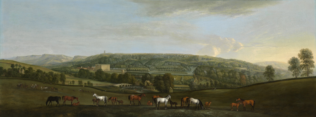 Chatsworth House and Park. Pieter Tillemans (Flemish, active Great Britain, 1684-1734), about 1725. Oil on canvas. 26 × 68 inches. Collection of the Art Fund, Inc. at the Birmingham Museum of Art; Purchase with funds provided by the Sklenar Family – Herb, Ellie, Susan and Tisha; and the Art Fund, Inc., AFI.4.2013.