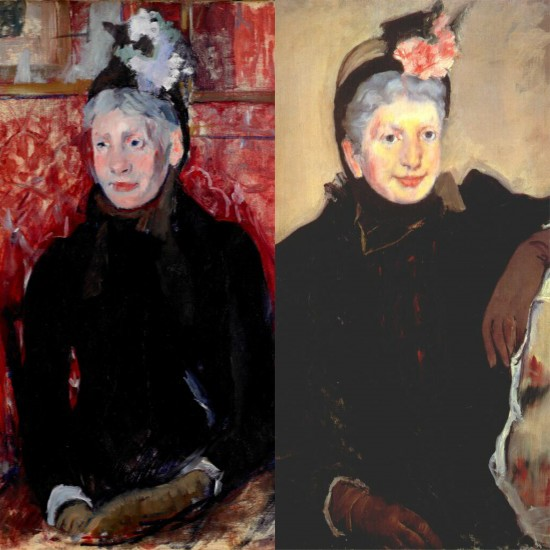 """(left, detail of) """"Portrait of an Elderly Lady in a Bonnet: Red Background"""" Mary Cassatt, United States, 1844-1926, oil on canvas, painting. Collection of the Birmingham Museum of Art. (right, detail of) """"Portrait of an Elderly Lady"""" (c. 1887) Cassatt, Mary, American, 1844 - 1926 oil on canvas. Chester Dale Collection, National Gallery of Art, Washington, DC. 1963.10.7"""