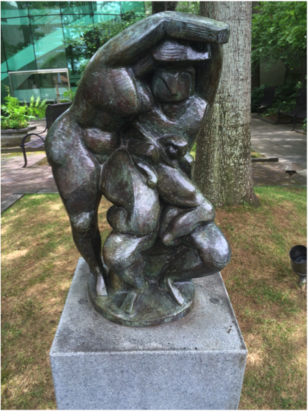 """The sculpture garden also has plenty of flowers and trees for the nature-lover in your life. It's a perfect outing with your mother or daughter! // """"Mother and Child"""" Brad Morton, Cor Ten steel. BMA collection 1986.749."""