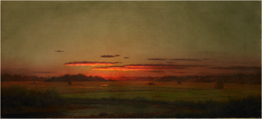 """Sunset, Haywagon in the Distance,"" about 1875, Martin Johnson Heade, American (1819-1904), oil on canvas. Museum purchase with funds provided by the Friends of the Museum through Vulcan Materials 1977.192."