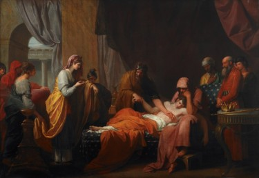 """""""Erasistratus the Physician Discovers the Love of Antiochus for Stratonice"""" (1772), Benjamin West (American, 1738-1820). Oil on canvas. Museum purchase with funds provided by Mr. and Mrs. Houston Blount; Mr. and Mrs. Michael Bodnar; John Bohorfoush; Mr. and Mrs. Percy W. Brower, Jr.; Mr. and Mrs. Thomas N. Carruthers, Jr.; Catherine Collins; Mr. and Mrs. Henry C. Goodrich; Mr. and Mrs. Hugh Kaul; Harold and Regina Simon Fund; Mr. and Mrs. William M. Spencer III; Mr. and Mrs. Lee Styslinger; and other donors. 1987.4."""