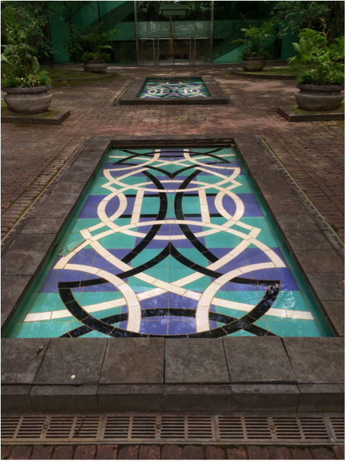 """Summer is the perfect time to head to the pool(s)! // """"Blue Pools Courtyard"""" Valerie Jaudon, ceramic tile, water, brick, bluestone plantings. BMA collection 1993.26."""