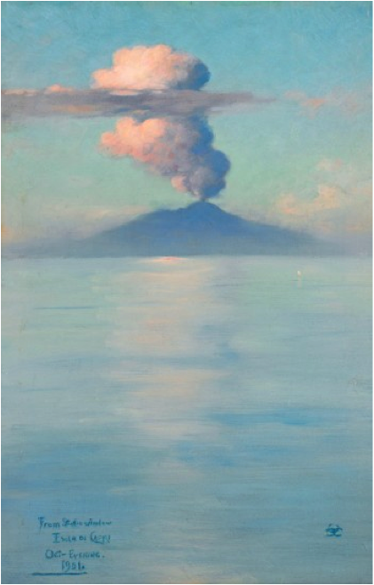 """From Studio Window, Isola di Capri, October Evening,"" 1901, Charles Caryl Coleman, American (1840-1926), oil on panel. Museum purchase with funds provided by the Friends of American Art 2010.113."