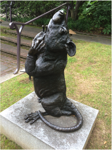 """This little guy may look familiar - he was made by artist Frank Fleming! See more of Fleming's works in our exhibition """"Between Fantasy and Reality: Frank Fleming"""" on display through August 9. // """"Rat"""" Frank Fleming, bronze. BMA collection AF 1193.2011."""