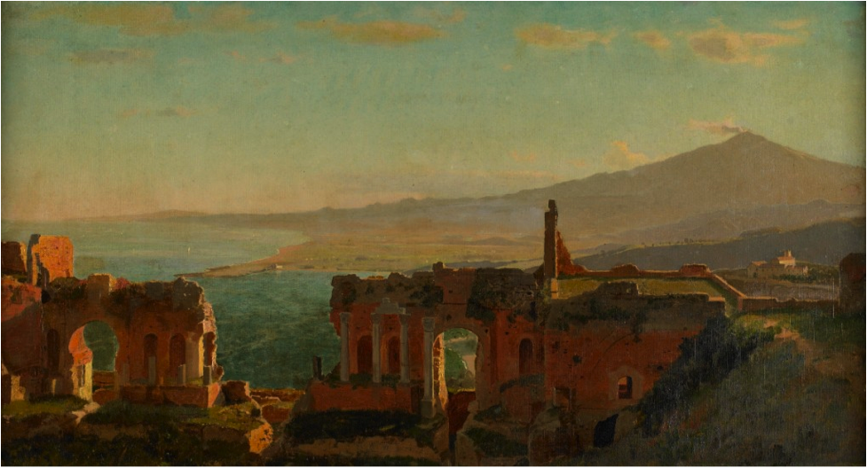 """Mt. Aetna from Taormina,"" 1871, William Stanley Haseltine, American (1835-1900), oil on canvas. Museum purchase with funds provided by the Harold and Regina Simon Fund, 2008.16."