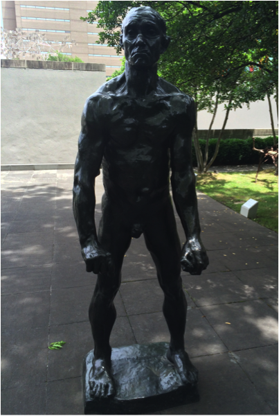 """Did you know the Museum has a Rodin sculpture in the garden? Come pay Jean d'Aire a visit! // """"Jean d'Aire"""" Nude Auguste Rodin, bronze. BMA collection 1987.21."""