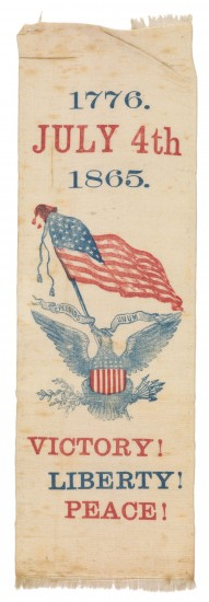 """Independence Day Ribbon"" (1865), unknown maker, American. Silk. Collection of the Art Fund, Inc. at the Birmingham Museum of Art; Gift of Dr. Graham C. Boettcher. AFI.113.2007."