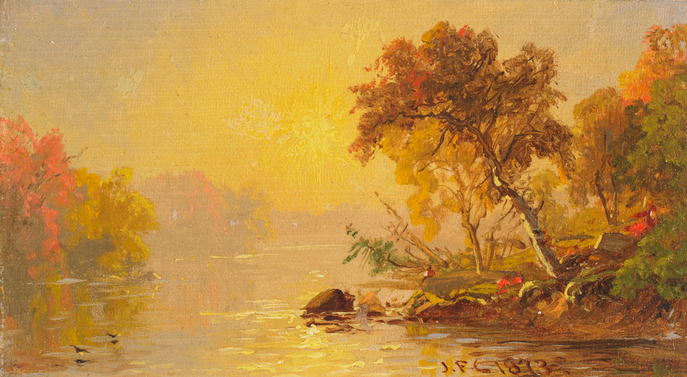 """Landscape with sun-bathed lake and wooded shores"" Jasper Francis Crospey, United States, oil on canvas laid down on board. BMA Collection, 1985.167."