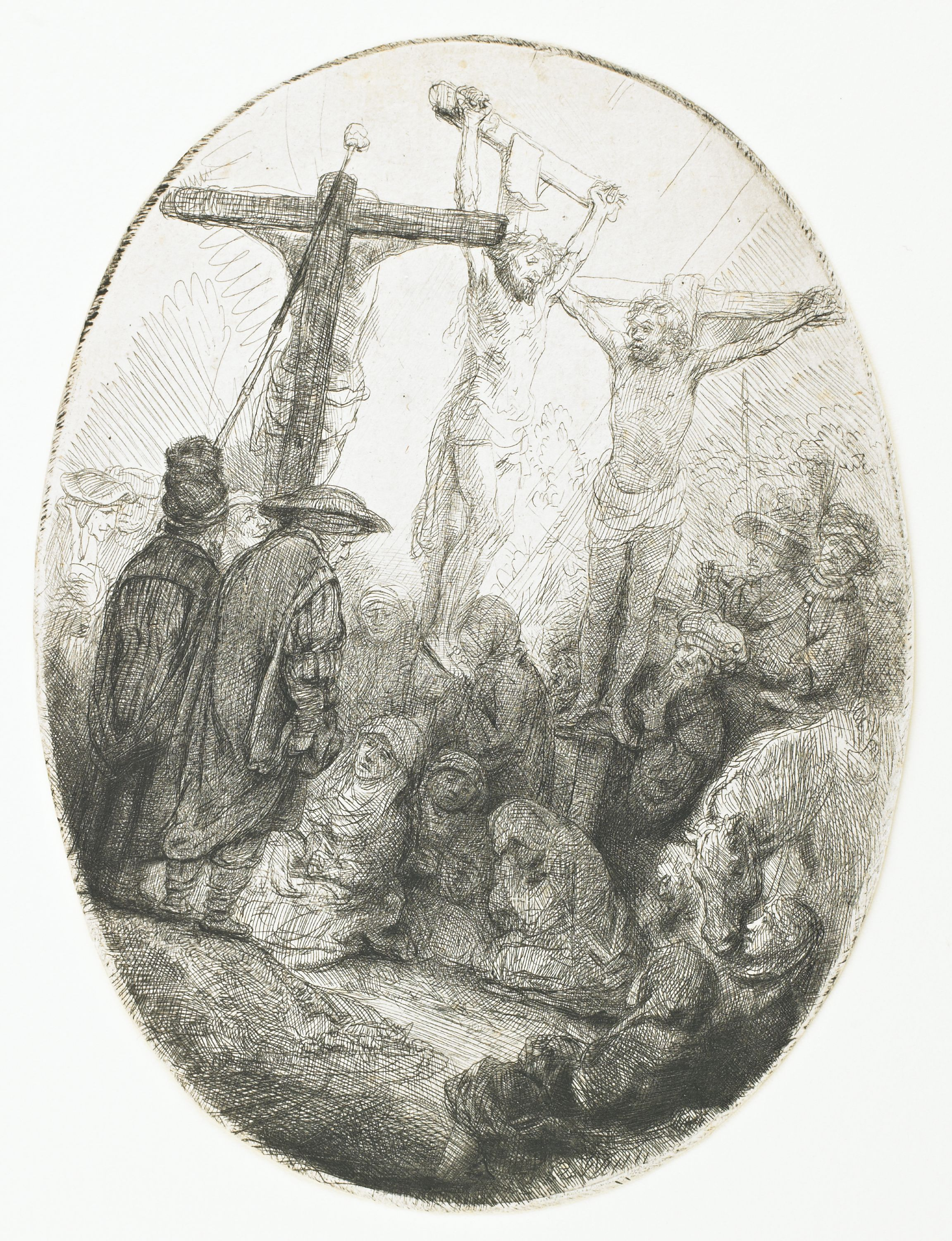 """The Crucifixion"" Rembrandt van Rijn (Netherlands, 1606-1669), etching state 2 of 2. Print. 1954.24."