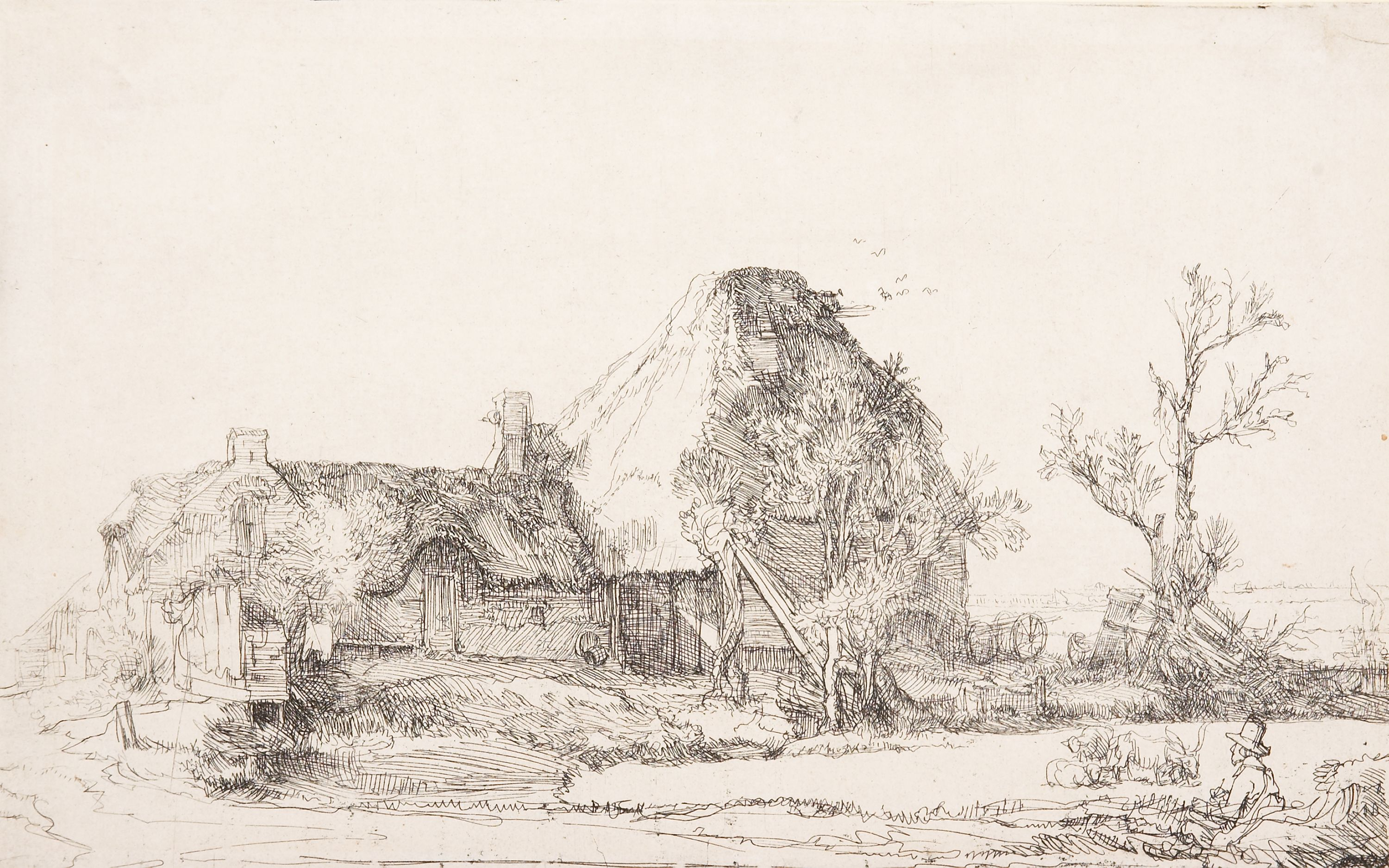 """Farmhouse with Artist Sketching"" Rembrandt van Rijn (Netherlands, 1606-1669), etching (single state), print. 1957.101."