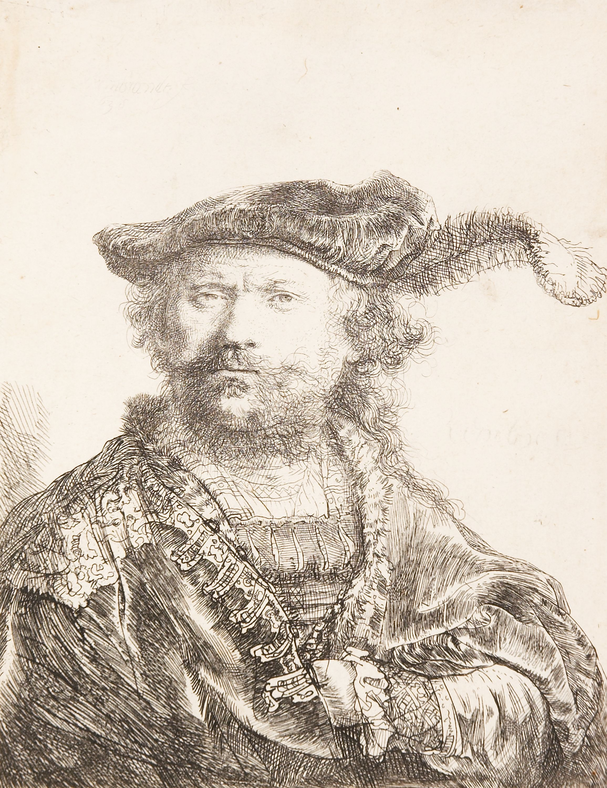 """Self-Portrait in a Velvet Cap with Plume"" Rembrandt van Rijn (Netherlands, 1606-1669), etching (state 1 or 2 of 2), print. 1957.102."