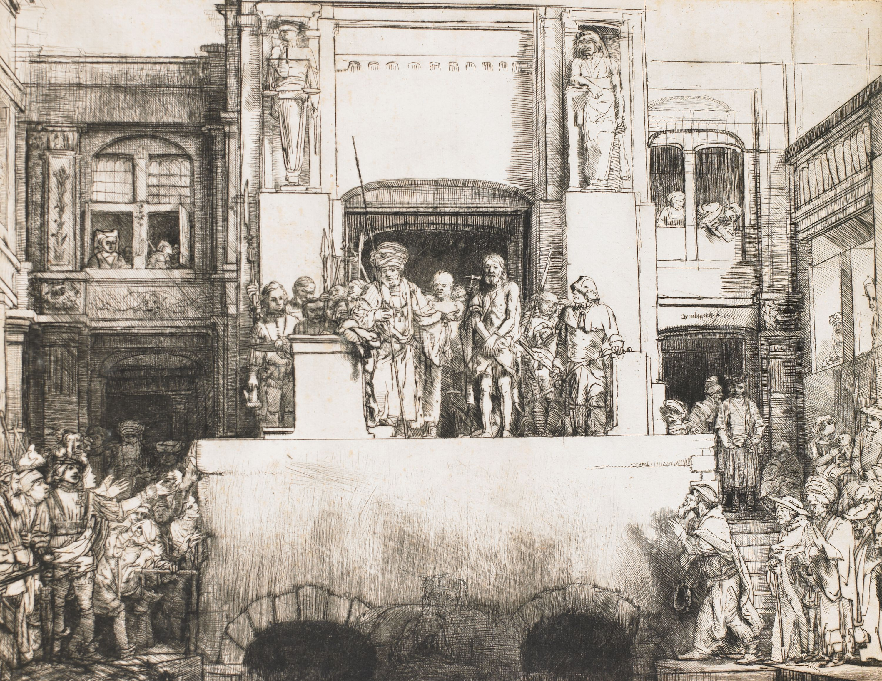 """Christ Presented to the People (Ecco Homo)"" Rembrandt van Rijn (Netherlands, 1606-1669), drypoint (state 4 of 4), print. 1957.97."