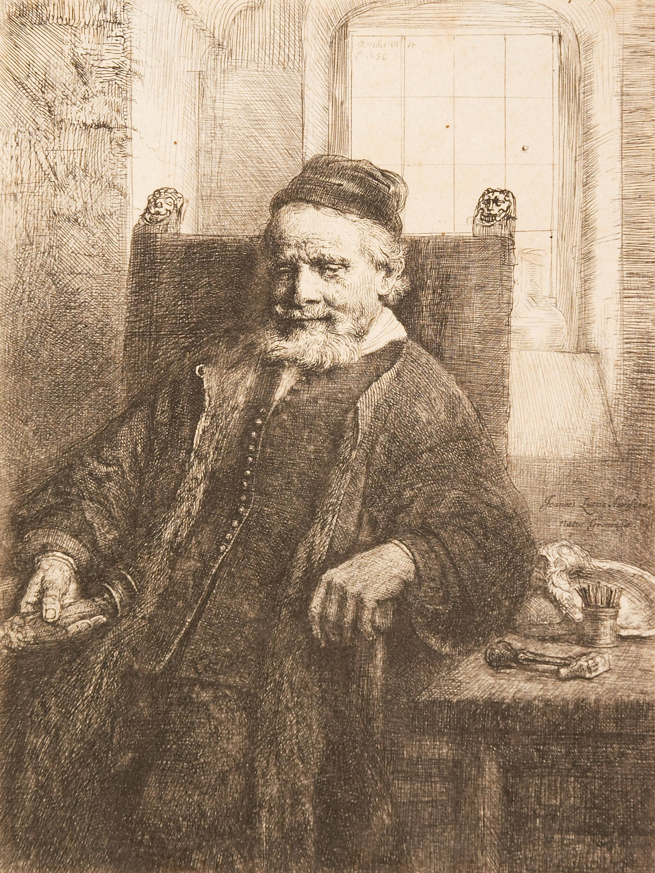 """A Scholar in his Study (Faust)"" Rembrandt van Rijn (Netherlands, 1606-1669), etching and drypoint (state 1 of 3), print. 1957.99."