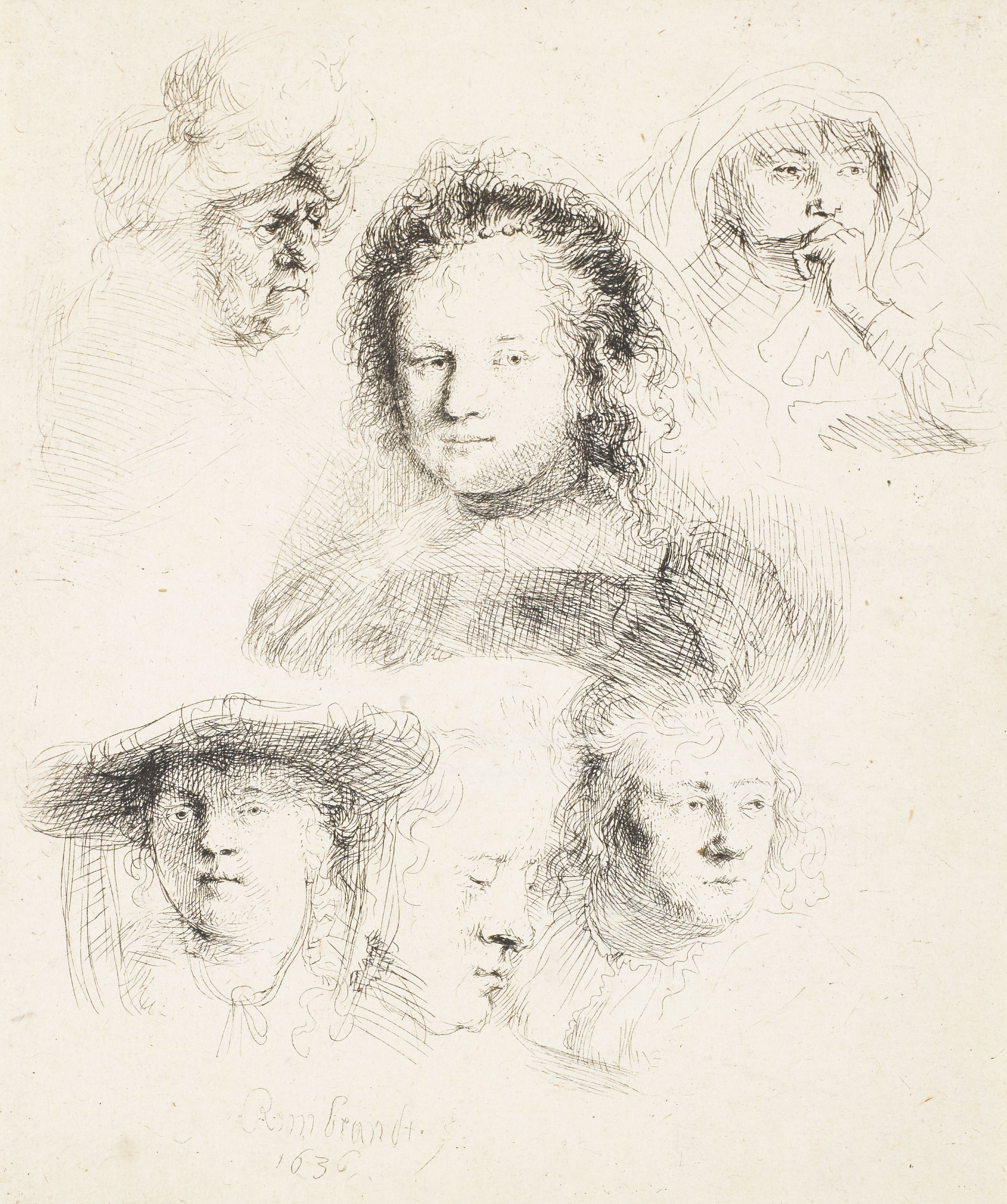 """Studies of Head of Saskia and Others"" Rembrandt van Rijn (Netherlands, 1606-1669), etching on laid paper (only state), print. 2006.5."