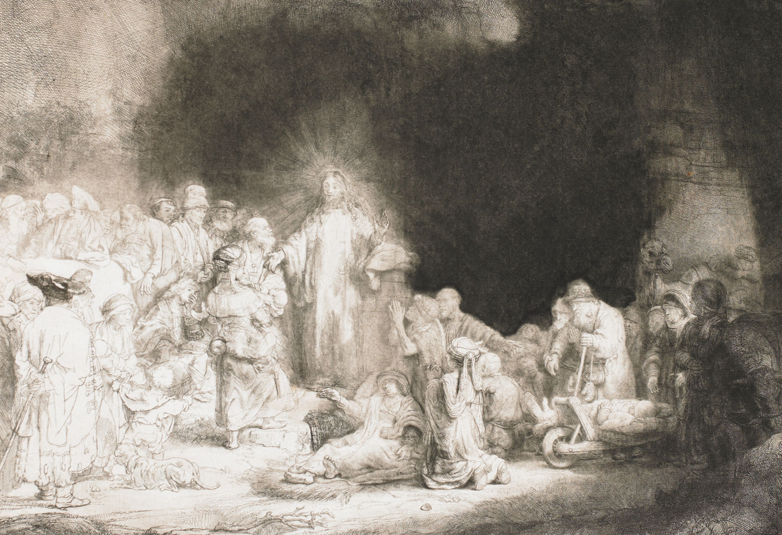 """Christ Healing the Sick (The Hundred Guilder Print)"" Rembrandt van Rijn (Netherlands, 1606-1669), etching, drying, and burin (state 2 of 2). Print. 56.2003."