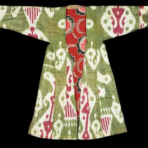Robe, Uzbekistan, Ikat-dyed silk or cotton, Loan from the Collection of Peggy Slappey. 82.2013